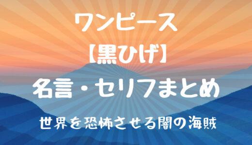 黒ひげの名言・名セリフまとめ厳選8選!口調やしゃべり方も紹介!